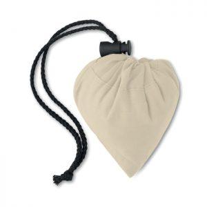 Bolsa de la compra plegable en algodón de 105 gr/m² con asas cortas y cierre de cordón en la bolsa. Se entrega desplegada.